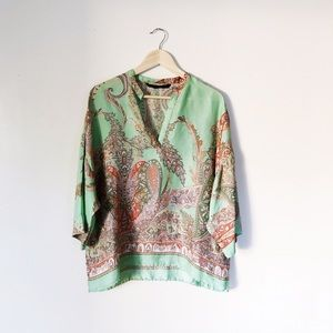 Zara Basic Mint Green Paisley Silk Blouse